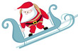 Cartoon Santa in sleigh before parachute jump isolated. Vector