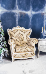 ancient chair in a Christmas interior