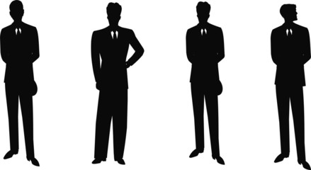 vintage males in suits silhouettes