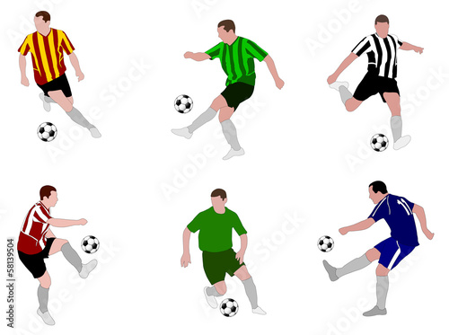 soccer players illustration  (set 2) - vector