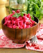 Russian salad with beetroot, cabbage and potatoes