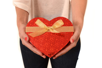 Woman holding Heart Shaped Box Present
