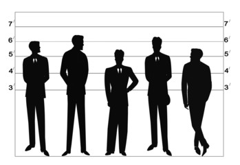 police lineup at station in silhouette