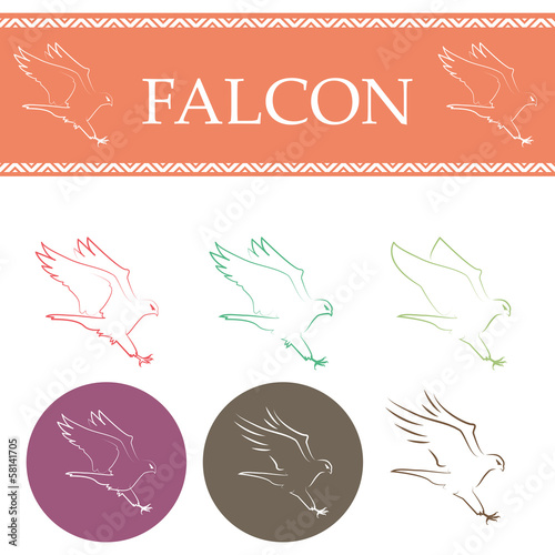 Falcon Flying Set - Isolated On White Background