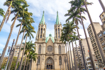 View of Se Cathedral in Sao Paulo , Brazil