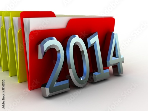 Color  folder 2014. File 3D. Icon isolated on white background.