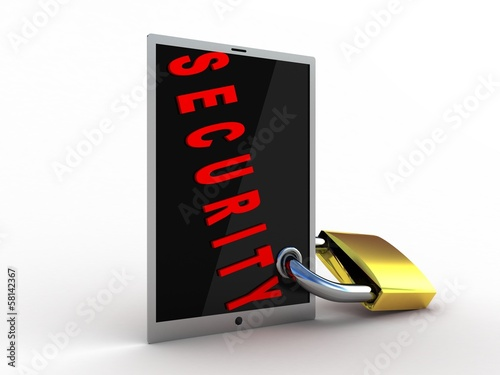 3d illustration of tablet computer locked