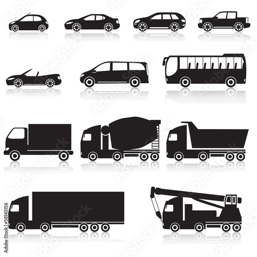 icon car: cabriolet, hopper, bus, minivan