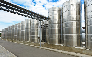 aluminum barrels where grape juice is aged into wine