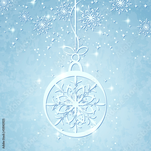 Christmas vector background with blue ball