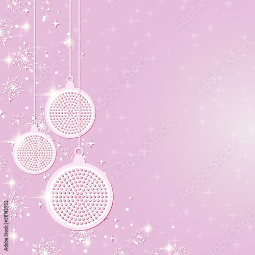 Christmas vector background with pink balls