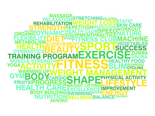 Fitness and healthy lifestyle. Word cloud concept