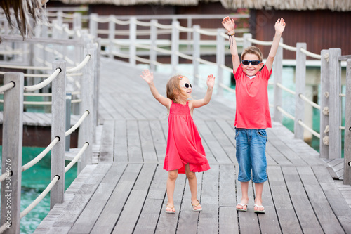 Two kids at resort