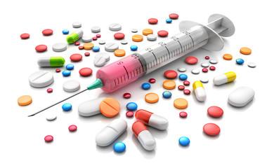Spritze mit Tabletten