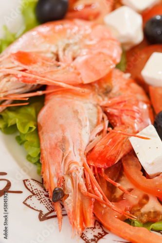 shrimps with greek salad