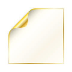 paper with curled corner and yellow gold color
