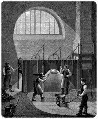 """Workers : Machine """"Puddler"""" - 19th century"""