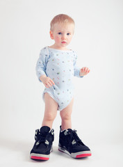 Boy with basketball shoes