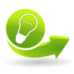 ampoule sur symbole vert