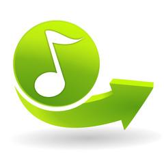 musique sur symbole vert