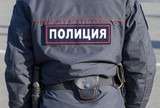 Midsection of russian policeman in uniform