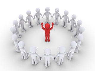 People form a circle and listen to the leader