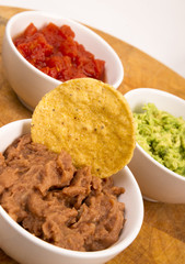 Chips Salsa Refried Beans Guacamole Nachos Food Fresh Appetizer