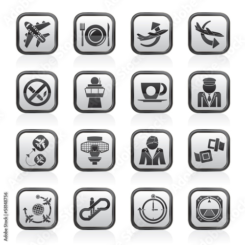 Aircraft,  airport and Plane Icons - vector icon set