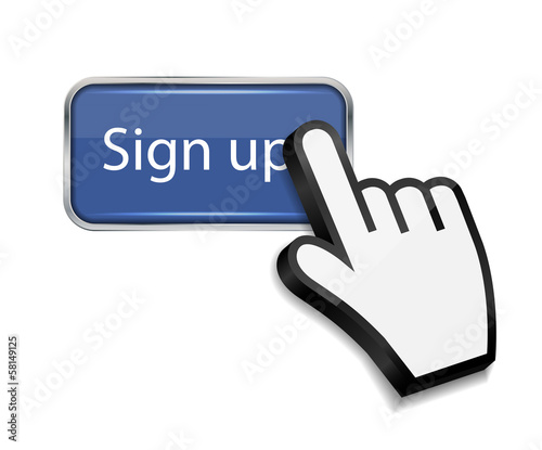 Mouse hand cursor on sign up button vector illustration