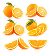 canvas print picture - collection of 6 orange images