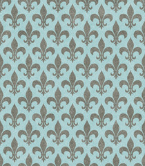 Teal and Gray Fleur De Lis Textured Fabric Background