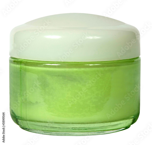cosmetic creams isolated on white background. Closeup of jar of