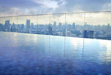 infinity pool on high condominuim building
