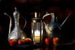 Oriental still life.Candle light.