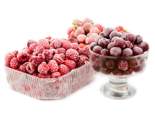 frozen strawberries, cherry and raspberries