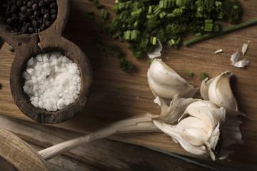 Salt and garlic