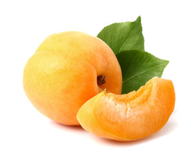 Ripe apricot with slice