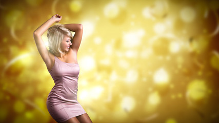 tanzende junge Frau vor Silvesterhintergrund