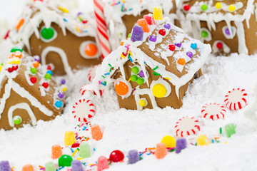 Gingerbread Houses and Candy Cane with Snow
