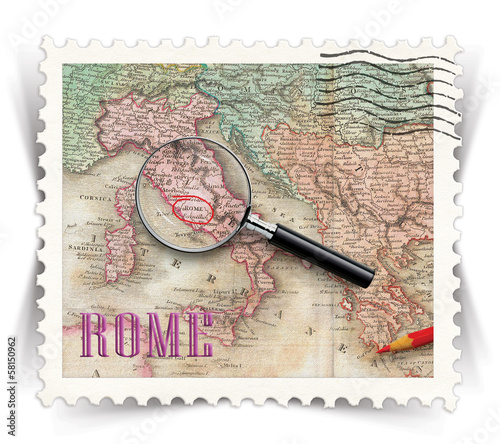Label for Rome tourist products ads stylized as post stamp