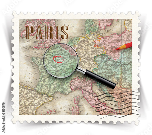 Label for Paris tourist products ads stylized as post stamp