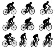 10 high quality race bicyclists silhouettes - vector