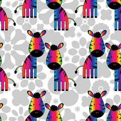Seamless pattern with funny rainbow zebras