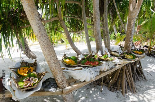 Tropical food served outdoor in Aitutaki Lagoon Cook Islands