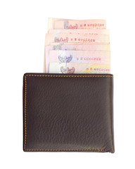 wallet and bank notes on white background