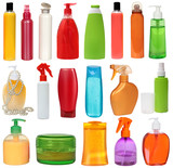 19 colored plastic bottles with liquid soap and shower gel