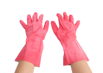 gloves for cleaning with hand on white background