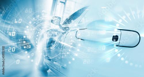Leinwanddruck Bild Car door handle