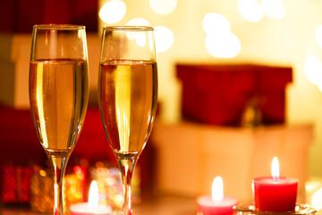 シャンパンとキャンドル