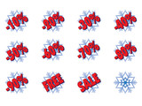 christmas sale: set of snowflakes with discounts